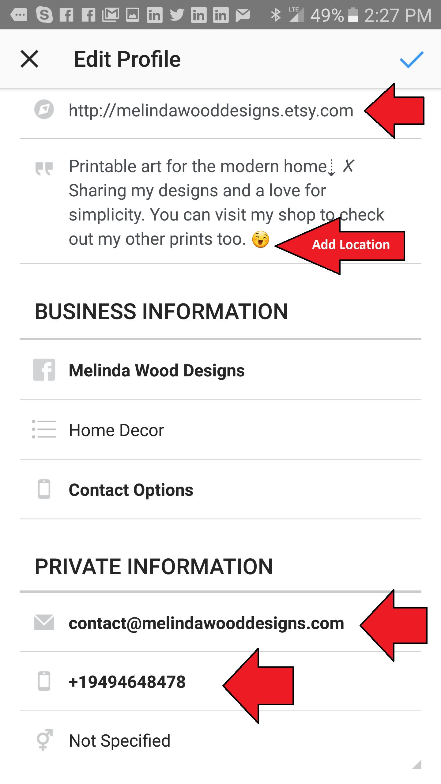 Instagram - Contact Information
