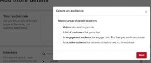 Pinterest - Create an Audience